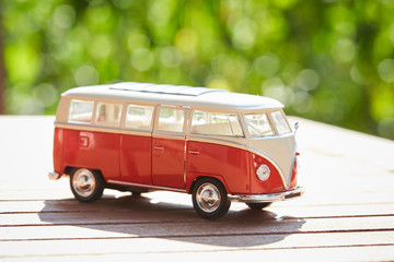 VW figurine bus as a symbol for holiday
