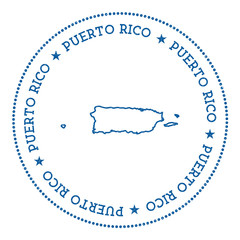 Puerto Rico vector map sticker. Hipster and retro style badge with Puerto Rico map. Minimalistic insignia with round dots border. Country map vector illustration.