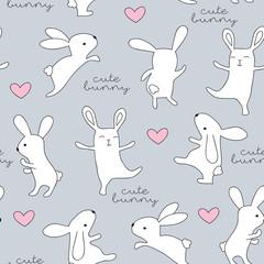 seamless little bunny pattern vector illustration