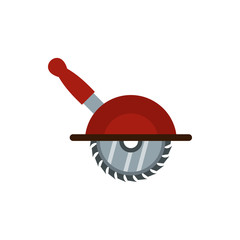 Circular saw icon in flat style isolated on white background. Tool symbol vector illustration