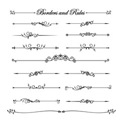 Collection of vintage and classic decorative line elements borde