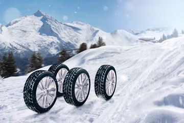 Reifen auf Winterstraße