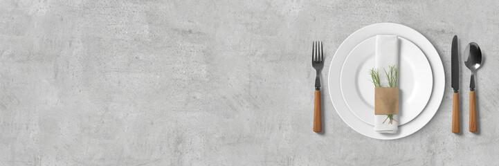 Schlichtes Tischgedeck - Banner / Hintergrund - Textfreiraum
