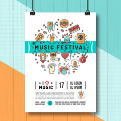 Music festival poster template A4 size. Music infographics, trendy icons line art style. Rock, jazz concert, vector design mock-up brochures, flyers or cards on creative wooden background