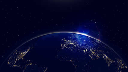 Vector background planet earth with sunrise in space and city lights
