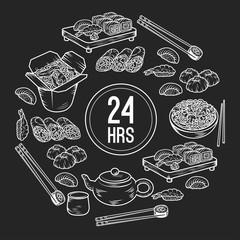 Set with Asian and Chinese cuisine icons Vector hand drawn elements