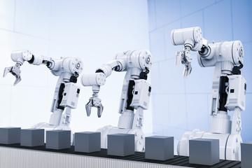 robotic arms with empty conveyor belt