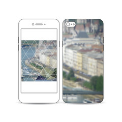 Mobile smartphone with an example of the screen and cover design isolated on white. Polygonal background, blurred image, urban landscape, modern stylish triangular vector texture