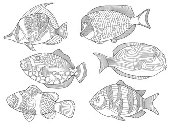 Stylized collection of underwater tropical fishes. Freehand sketch for adult anti stress coloring book page with doodle and zentangle elements.