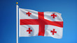 Georgia flag waving against clean blue sky, close up, isolated with clipping path mask alpha channel transparency