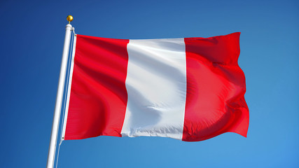 Peru flag waving against clean blue sky, close up, isolated with clipping path mask alpha channel transparency