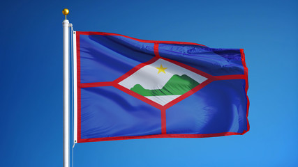 Sint Eustatius flag waving against clean blue sky, close up, isolated with clipping path mask alpha channel transparency