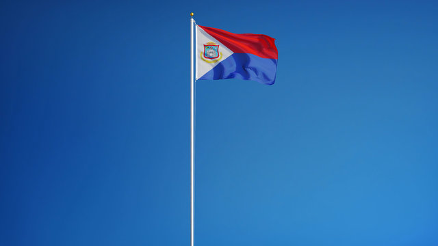 Sint Maarten flag waving against clean blue sky, long shot, isolated with clipping path mask alpha channel transparency