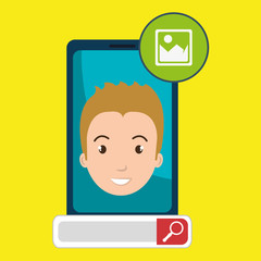 man online search app vector illustration eps 10