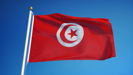 Tunisia flag waving against clean blue sky, close up, isolated with clipping path mask alpha channel transparency