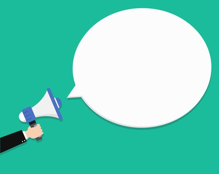 Hand holding megaphone with blank speech bubble. Empty speech bubble for advertising, warning, announce. Speak, shout, to call, announcing through megaphone. Announcing alarm, warn.