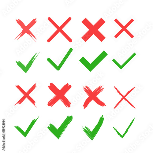 Red Cross And Green Tick Vector Set Yes And No Icons For Websites