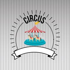 carousel horses emblem circus vector illustration eps10 eps 10