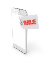 White smart phone with red sale label on white background. Best offer. Leader of sales. 3D rendering.
