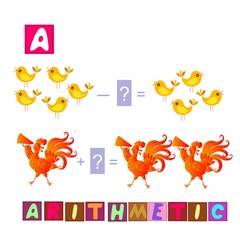 Year of the rooster. Cute cartoon english alphabet with colorful image and word. Kids vector ABC. Letter A. Arithmetic.