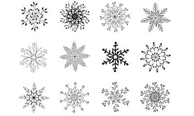 12 Vector Hand Drawn Snowflakes Clipart