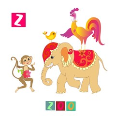 Year of the rooster. Cute cartoon english alphabet with colorful image and word. Kids vector ABC. Letter Z. Zoo.