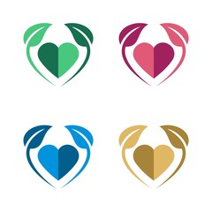 Heart and Leaf Logo Template