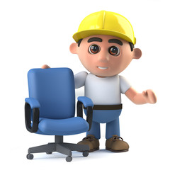 3d Construction worker offers you a chair