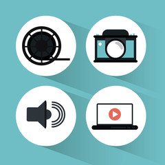 camera laptop volume play and film reel icon. Video movie cinema and media theme. Colorful design. Vector illustration