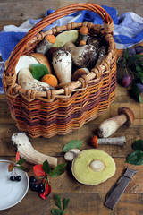 Still life with a basket of mushrooms.