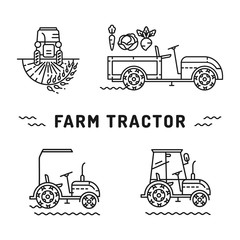 Set logos farm tractor on a white background, isolated icons in the line art style. Agriculture machines, Tractor in a field, walk-bihind tractor. Vector illustration