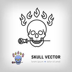 Vector skull logo design template. Modern skull icon in a thin line art style, Logo for the music studio, tattoo salon