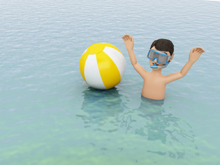 3d young people with beach ball in water.