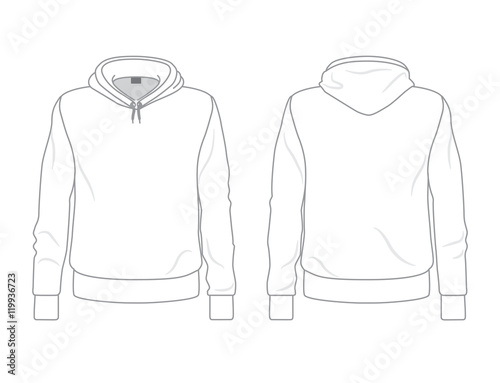 """Men's hoodie template, front and back view"" Stock image ...
