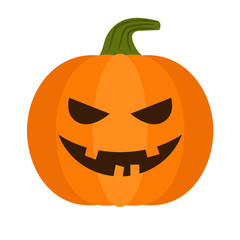 Cartoon halloween pumpkin. Vector pumpkin with sinister smiling face isolated on white background