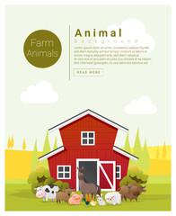 Rural landscape and farm animal background , vector , illustration