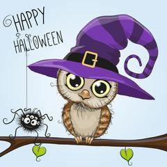 Cute cartoon owl in a witch hat