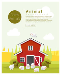 Rural landscape and farm animal background with sheep , vector , illustration