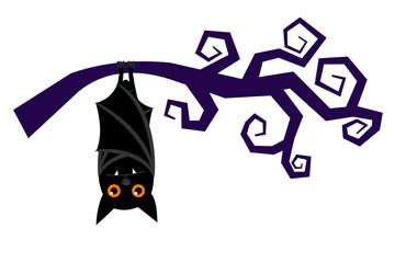 Cartoon bat hanging on tree branch, sleeping halloween vampire bat vector isolated on white background