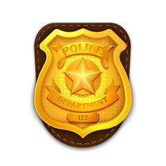 Gold realistic police, detective vector badge with shield