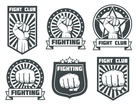 Fight club with fist vintage labels, logos, emblems vector set