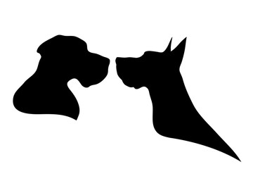 Vector silhouette of dog.