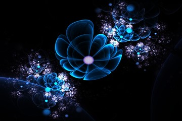 Abstract 3d flowers. Creative fractal design in blue, violet and green colors