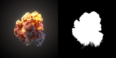 Large explosion with black smoke in dark 3d rendering