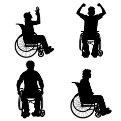Vector silhouette of man on wheelchair.