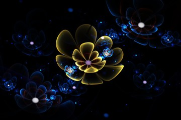 Abstract 3d flowers. Creative fractal design in blue and yellow colors