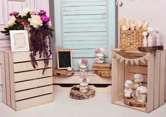 Interior decoration setup with flowers and picture frame