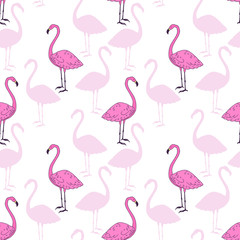 Pink flamingo bird vector seamless pattern design. Beautiful animal hand drawn sketch repeatable background