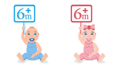 Set of two babies, boy and girl, holding information plates with age permission above six months