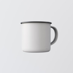 One Blank White Color Metal Coffee Mug Isolated Empty Background. Clean Enamel Cup Mockup Ready Corporate Design Message.Vintage Style.Horizontal Studio Shooting Side View. 3d rendering.